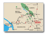 Fernie Alpine Resort Directions Map - Helping you get to your Fernie Accomodations.
