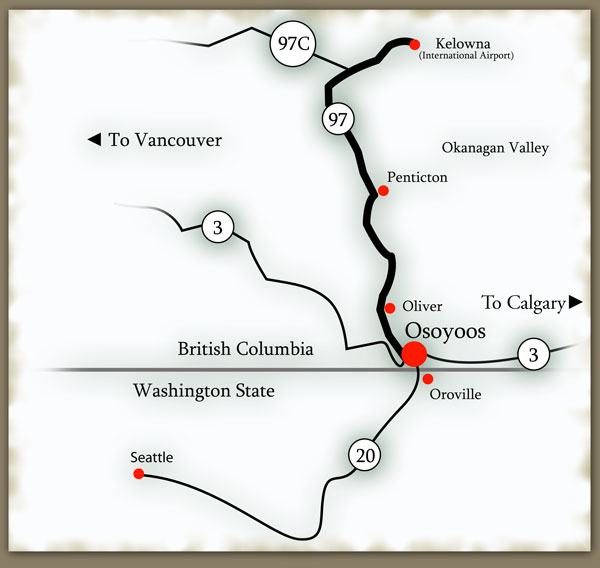 Osoyoos vacation rental and location map