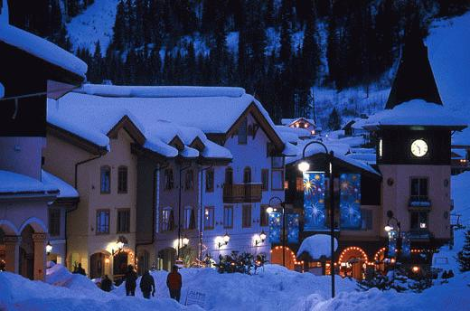 Sun Peaks BC Village at night
