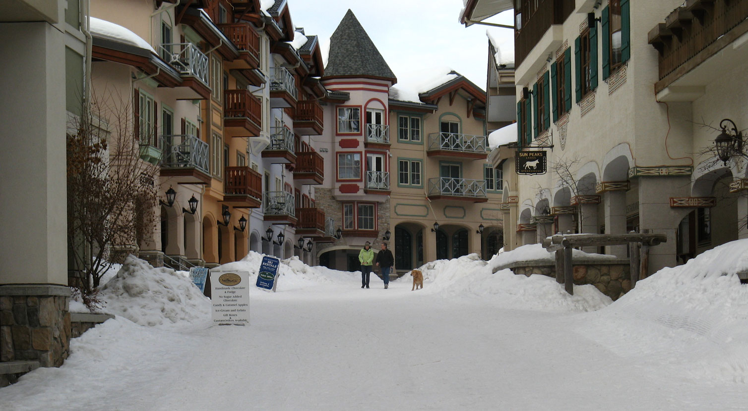 Sun Peaks Resort village in the winter
