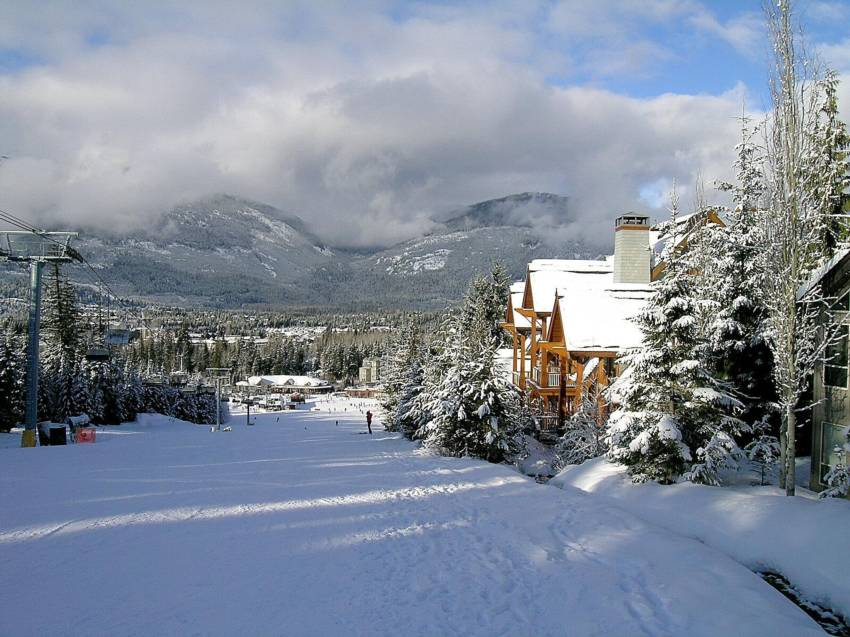 Watch Whistler skiers pass by from your Cedar Creek window