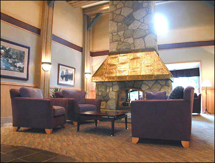 The lobby of the Glacier Lodge in Whistler