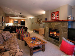 Warm and inviting living room at the Powderhorn in Whistler.