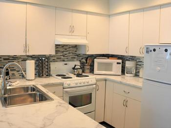 Spacious kitchen with dishwasher, stove, fridge, microwave, coffee maker, pots/pans, utensils, etc.