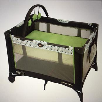 Pack n Play. This is a photo of one that is very similar. We do not have baby blankets.