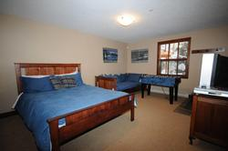 The Downstairs Family Room - well lit, warm and comfortable. Queen bed and full single bed with firm mattresses. The kids can watch their own shows down here. Toys, books, and DVDs provided.