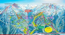 You can see where the CREEKSIDE area is on the bottom right hand side of the map. The gondola at Creekside generally has shorter line-ups than the ones in the Whistler Village.