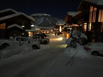 Woodhaven complex at night with one of Sun Peaks mountains in the background. Beautiful interior, clear and cold night.