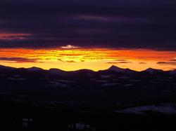 Breathtaking sunrise view of the Monashee's as seen from your chalet.