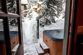 Back door from the kitchen leads directly to hot tub and access to the Valley Trail.