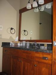 Master bathroom with granite vanity, heated floors, large shower with double shower heads.