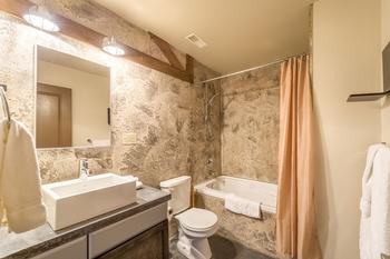 Main bathroom just off Queen room with shower and bathtub combination.