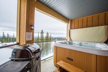View from the Hot Tub and Living Room. Ski right to the front door of the building.