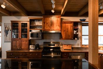 Gourmet kitchen is fully equipped with everything you need to prepare a delicious meal for family and friends.
