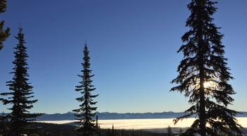 Monashee Morning, view from front deck.