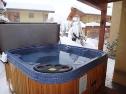 The hot tub is just outside the games room patio door for your convenience to relax under the stars or to watch the Stellar Jays...
