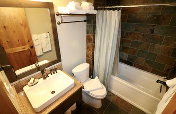 The main bathroom. This bathroom is located opposite the kitchen.