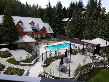 Our newly renovated courtyard featuring a year round heated pool, hot tub and BBQ's