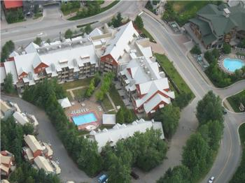 An aerial view of the Lake Placid Lodge. Just out of sight on the top right is the Creekside Gondola Plaza.