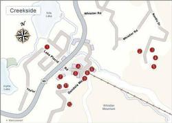 Local area map: Building 8 is The Lake Placid Lodge. Location A is the shopping area, grocery store,ski rentals and bus loop. The Creekside Gondola Base,ticket sales,and skier services is location B.