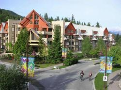 A summer photo of the the front of the building. Just 75 meters to the left of this photo was taken is the Creekside gondola.