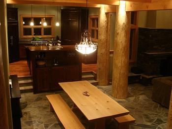 Dining Room with seating for 12, wet bar, wine fridge, chandelier, huge geode