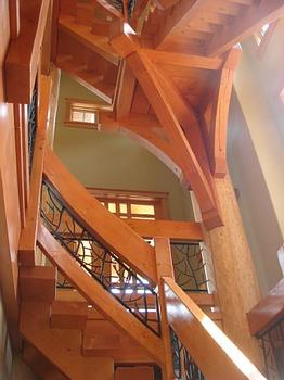 Intricate wooden staircase