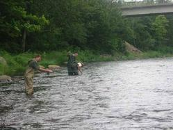 Father and son fly fishing on the Diable river. What a great experience!