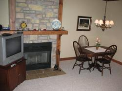 Stone fireplace to warm winter nights.