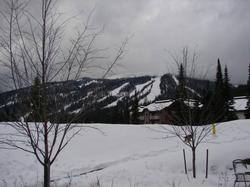 Mountain view on first day of opening in Nov at Sun Peaks. Awesome powder and the Austrian Ski Team is here too!