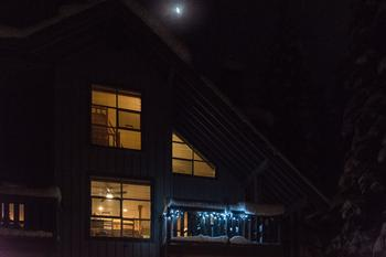 Night time view (with moon) of our town home.
