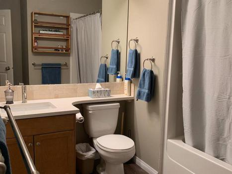 Bathroom with entry from living area or bedroom. New flooring, countertops, lights, faucets and towels.
