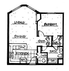 The Legacy Floor Plan, features a spacious Kitchen, an open design for Dining and Living areas, a private Laundry and dual access to the Bathroom.