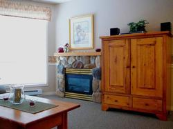 Cozy, romantic gas fireplace: Just flick a switch to turn it on. No hassle with messy logs. Entertainment center with TV, VCR, DVD/CD player and iPod connection