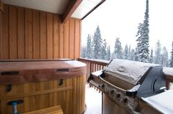 Private hot tub for six with magnificent view and outdoor music system. Large gas BBQ.