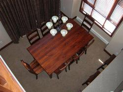 View from above. Looking down on the dining room.