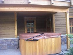 Hot tub for six! The hot tub is located on the patio just outside of the family room.