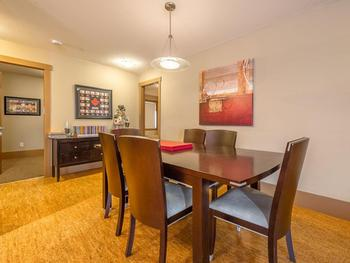 With seating for 8, the dining room is perfect for meals, games and browsing the web with our wireless internet.