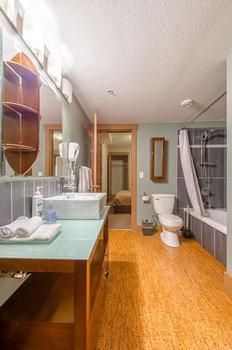 The large main mathroom has a full bath, hand held shower and plenty of storage space.