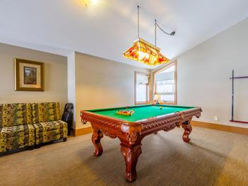 Pool table located in the loft area.