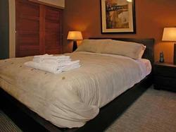 Master Bedroom has queen size bed with quality linens.
