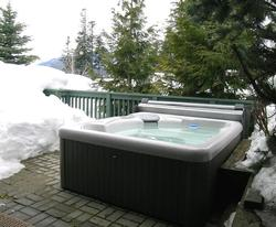 Enjoy the mountain view from tour hot tub. patio .