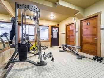 Fitness room located on main floor of the building. Treadmill, weights and a bike, showers and change rooms for exclusive use of building guests.
