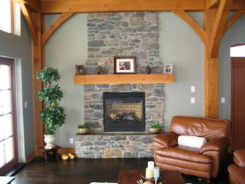 Rock Fireplace in the living Room