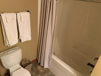 Master bathroom with soaker tub and all features.