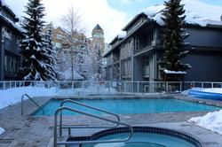 Glacier Lodge pool and two hot tubs