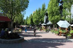 The stroll on the east side of Glacier Lodge, where there is a weekly farmers market every Sunday in the summer