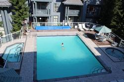 Heated pool and two hot tubs - summer view