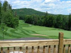 Spectacular views of Gray Rocks Resort and the 18th Hole of La Bete Championship Golf Course.
