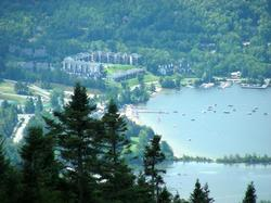 This a view of Lake Tremblant and its public beach. A daily cruise is available on Lake Tremblant. This is a great way to see the sites around the mountain.